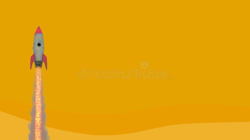 Modelo de cohete de lanzamiento que saca contra fondo amarillo Concepto de proyecto que lanza en negocio la representaci?n 3d, im libre illustration
