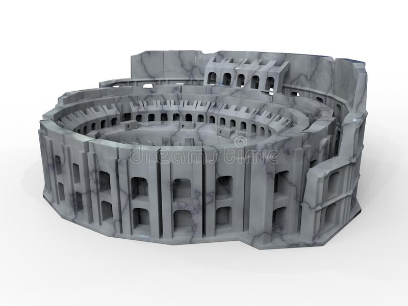 Modelo de Colosseum 3D en mármol ilustración del vector