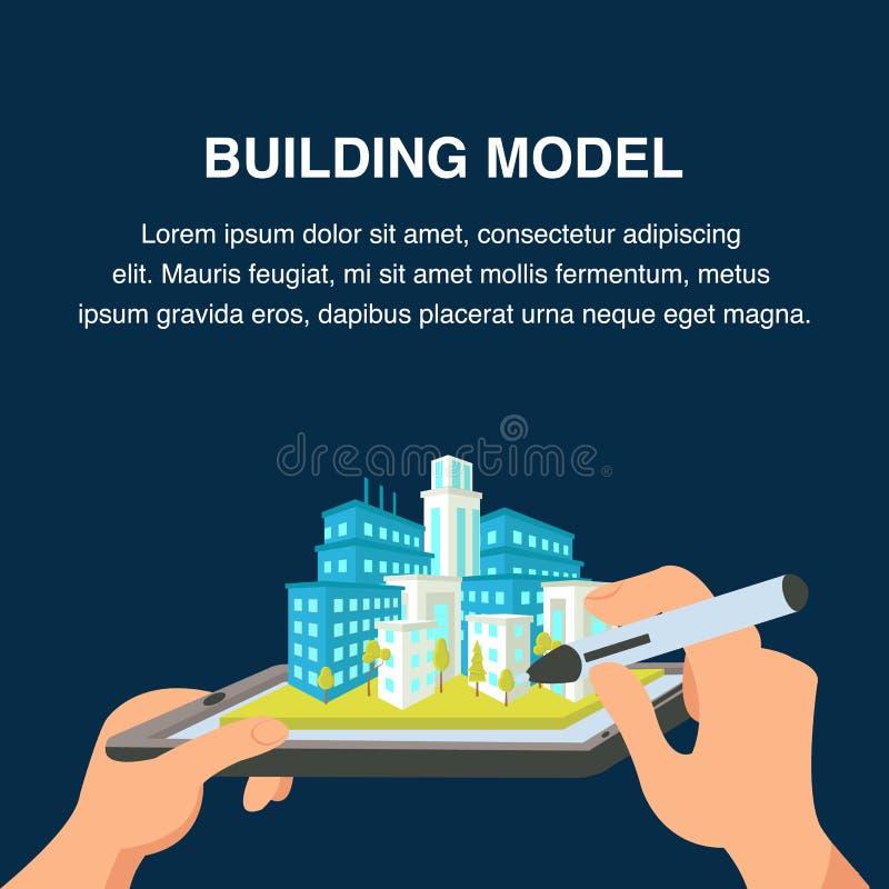 Modelo de construção Website Banner arquitectura da cidade 3d ilustração stock