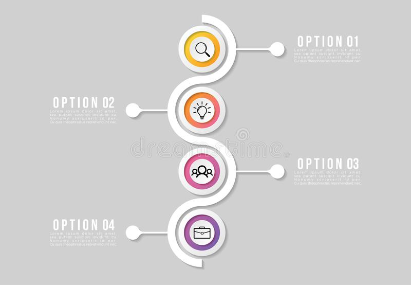 Modelo de Design Infográfico de Linha do Tempo com Etapas de Opções Iniciar para o processo de linha de meta Usado para gráfico d ilustração stock