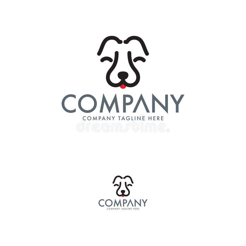 Modelo de design de logotipos de animais de estimação e cães ilustração stock