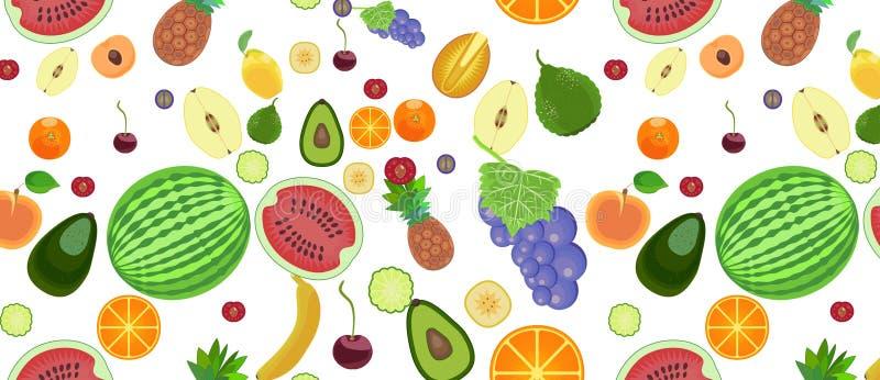Modelo de diversos tipos de frutas en un estilo plano libre illustration