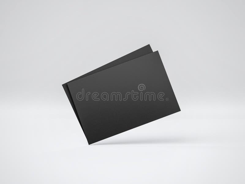 Modelo de dois cartões pretos rendição 3d ilustração do vetor