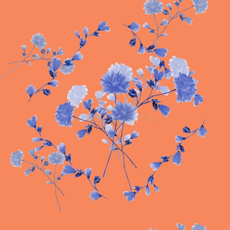 Modelo de Eamless del ramo con las flores azules en el marco de ramas azules en un fondo rojo claro watercolor ilustración del vector