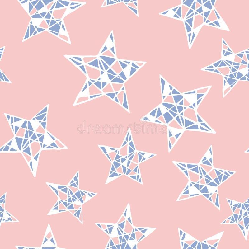 Modelo de estrellas colorido inconsútil del vector Cuarzo de Rose y colores de la serenidad ilustración del vector