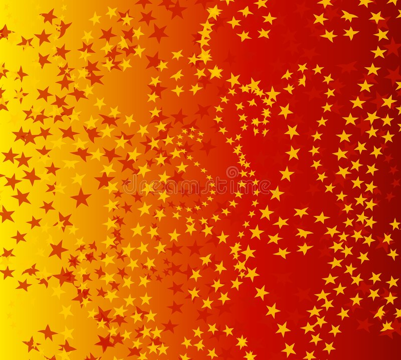 Modelo de estrellas rojo Wispy del oro ilustración del vector