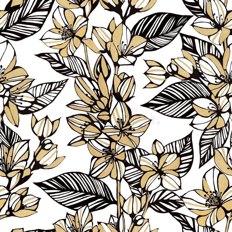 Modelo de flor inconsútil Flores del jazmín del oro en un fondo blanco Dibujo de lápiz de la mano Estilo de la vendimia Diseño pa stock de ilustración