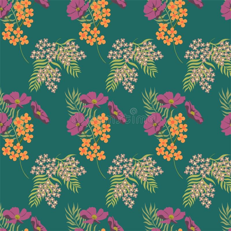 Modelo de flores del verano L?nea elementos fina Fondo verde floral del vector inconsútil Estampado de flores inconsútil del verd stock de ilustración
