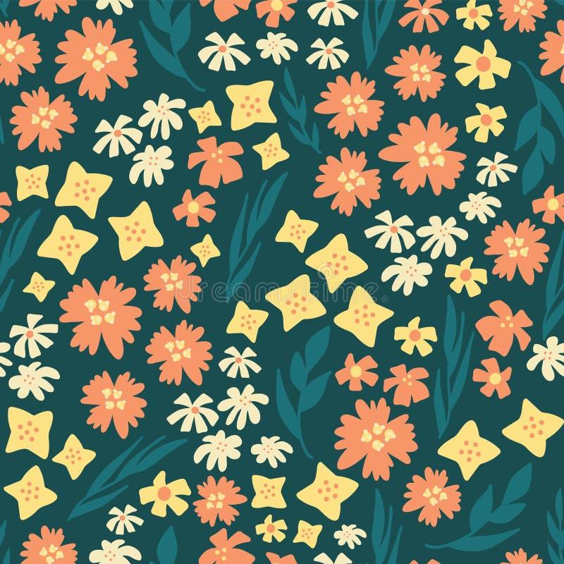 Modelo de flores dispersado repetición inconsútil del vector Trullo floral exhausto del fondo de la mano, amarillo, anaranjado Pl ilustración del vector