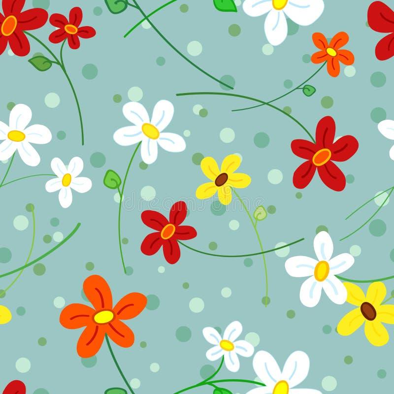 Modelo de flores inconsútil de la margarita ilustración del vector
