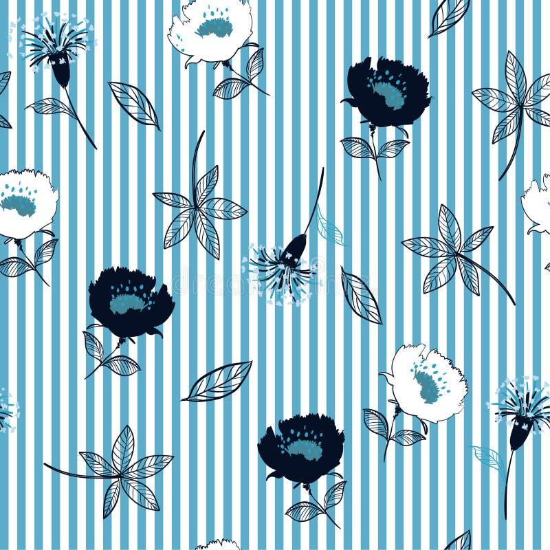 Modelo de flores inconsútil del jardín en rayas blancas azules Hojas libre illustration
