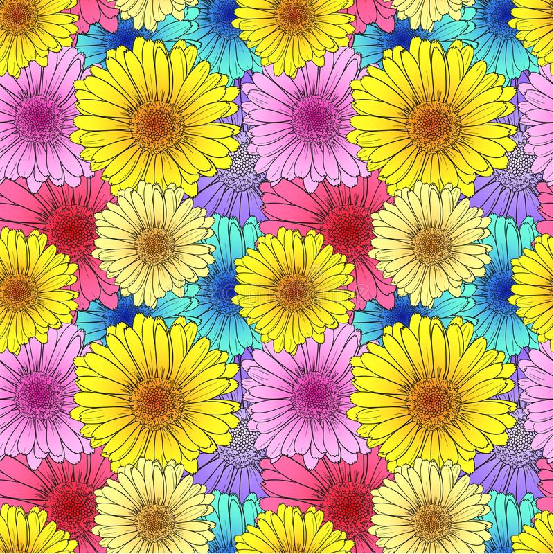 Modelo de flores inconsútil del vector, plantilla del fondo, ejemplo colorido, contexto de la tarjeta stock de ilustración