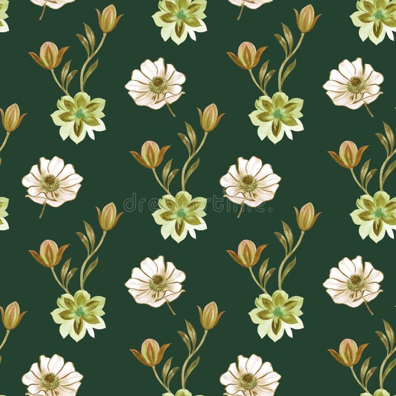 Modelo de flores incons?til de la acuarela Flores pintadas a mano en un fondo blanco Flores pintadas a mano de diversos colores F ilustración del vector