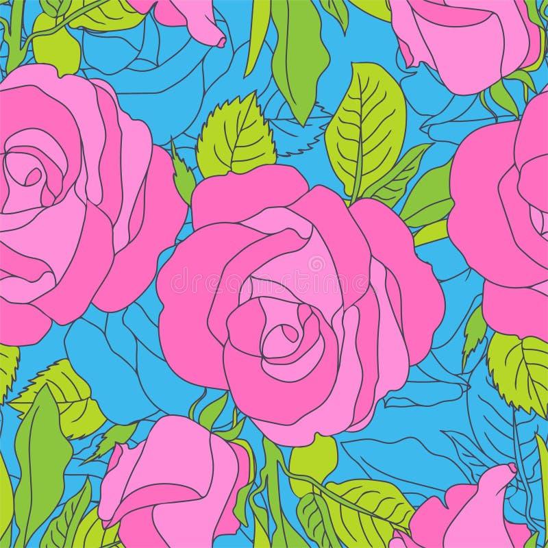Modelo de flores rosado brillante en fondo azul stock de ilustración