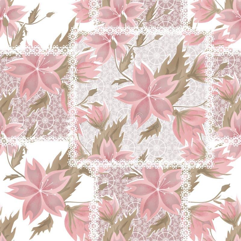 Modelo de flores rosado retro del cordón blanco inconsútil del remiendo ilustración del vector