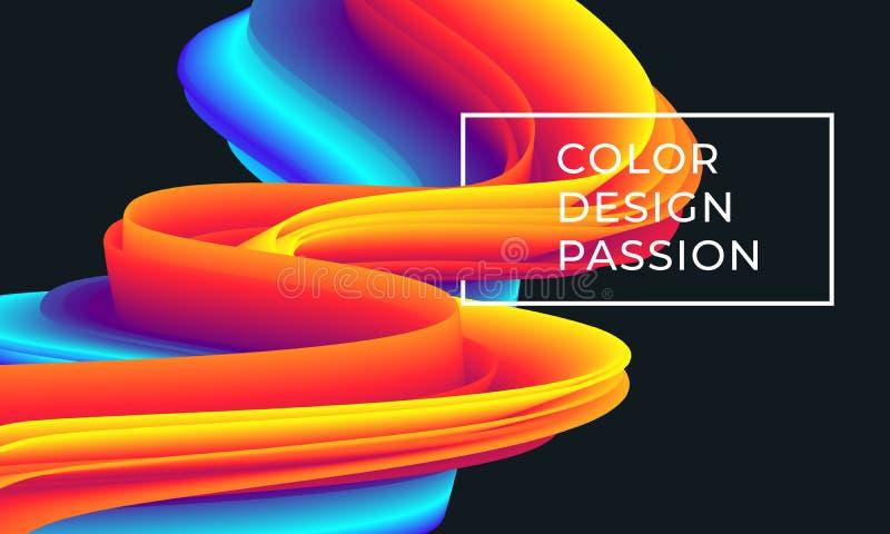 Modelo de flujo colorido de la onda ilustración del vector