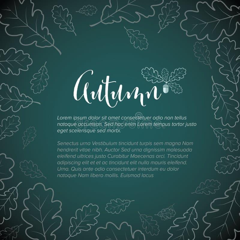 Modelo de folheto de outono com folhas de carvalho ilustração stock