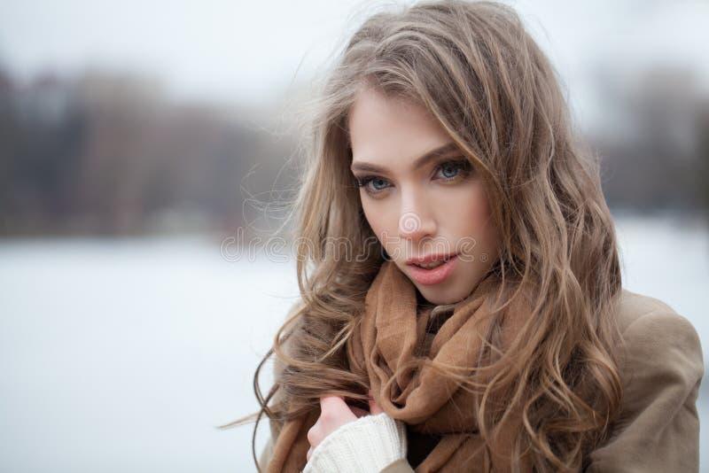 Modelo de forma bonito da mulher no parque do inverno fotografia de stock royalty free