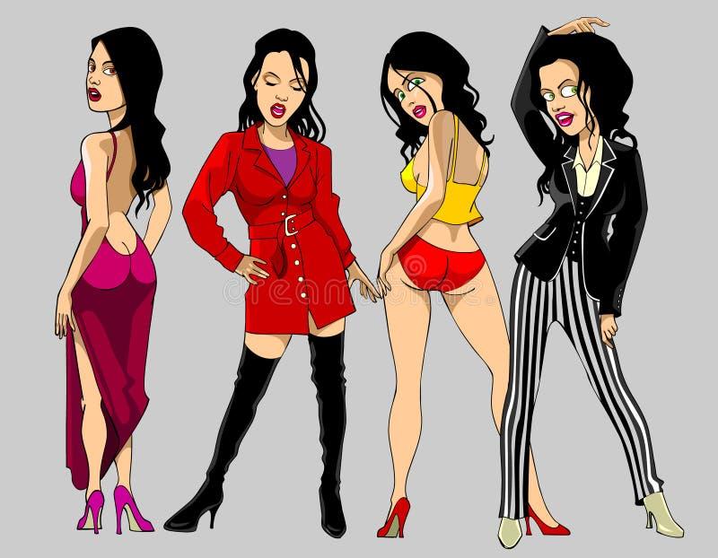 Modelo de forma fêmea da roupa da mostra dos desenhos animados ilustração royalty free
