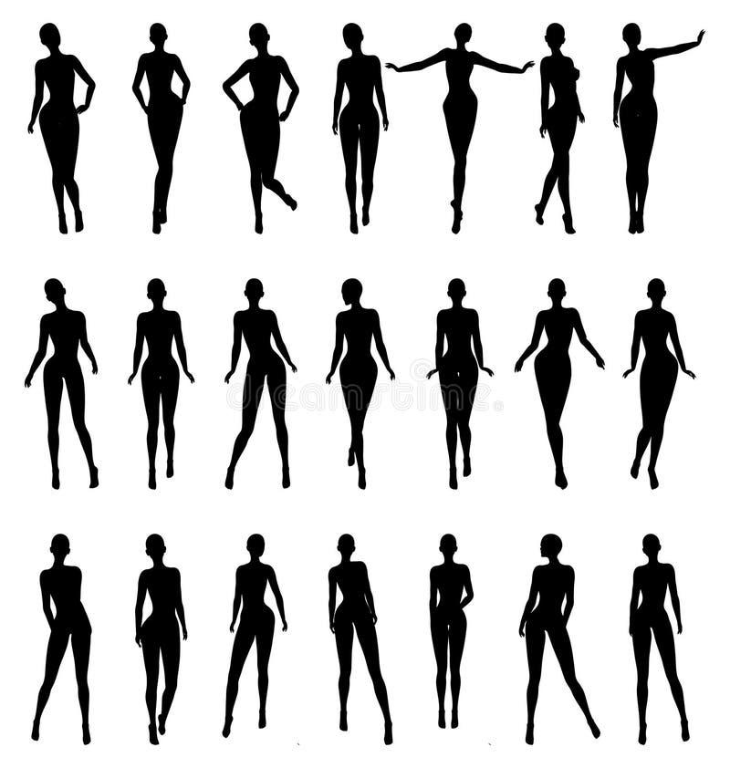 Modelo de forma fêmea despido Pose Set da silhueta ilustração stock