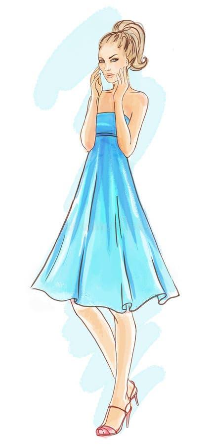 Modelo de forma Hand-drawn no vestido azul ilustração royalty free
