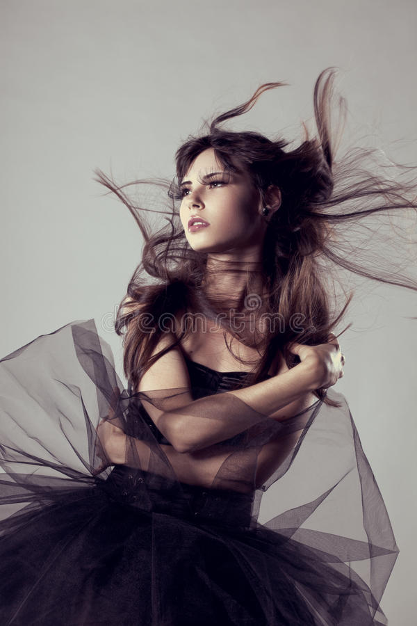 Modelo de forma luxuoso com cabelo do voo Gir elegante bonito fotos de stock