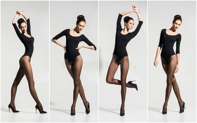 Modelo de forma novo e bonito que levanta nas meias e na roupa interior sobre o fundo branco foto de stock