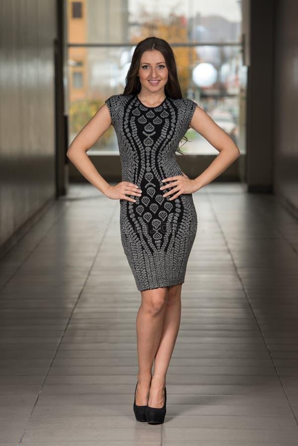 Modelo de forma In Silver Dress foto de stock royalty free