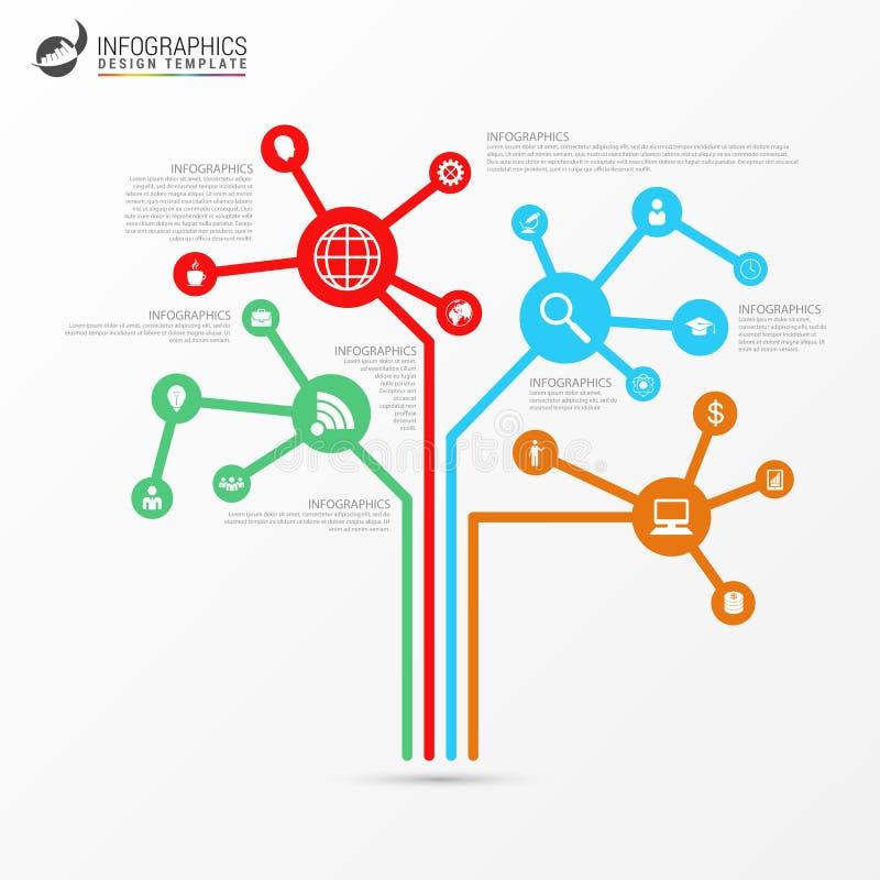 Modelo de Infographic Concepto abstracto del árbol de la tecnología Vector libre illustration