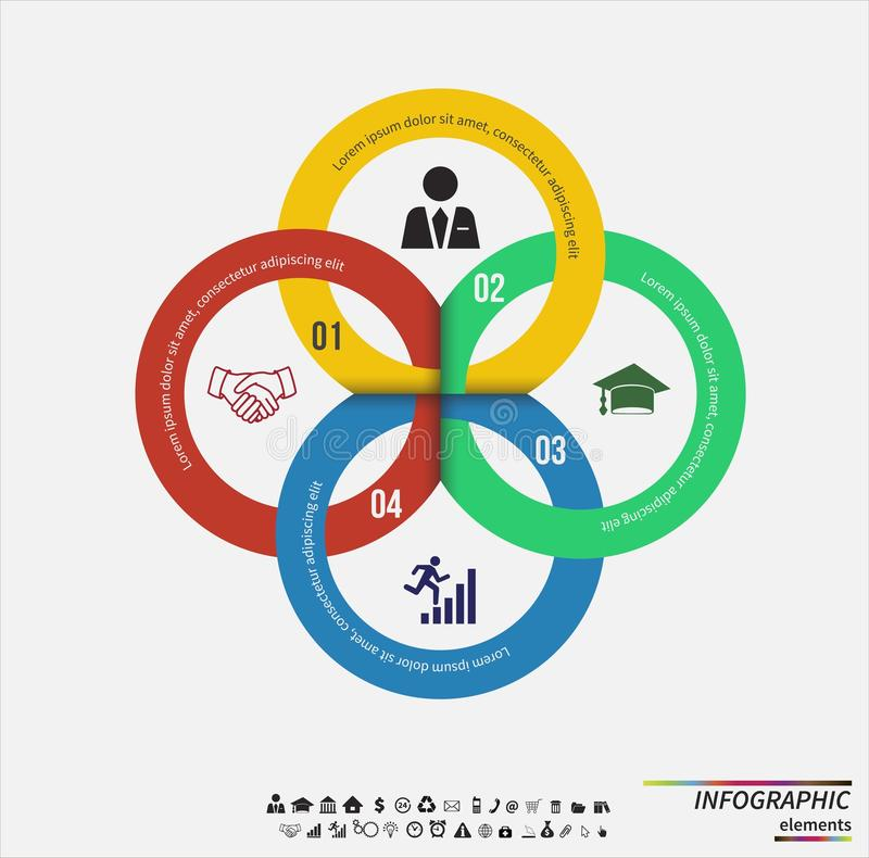Modelo de Infographic Concepto de diseño para la presentación, la carta redonda o el diagrama Vector eps10 stock de ilustración