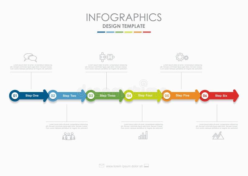 Modelo de Infographic Ilustración del vector Utilizado para la disposición del flujo de trabajo, diagrama, opciones del paso del  libre illustration