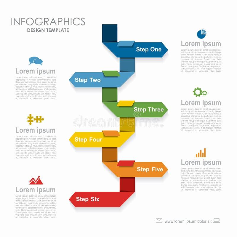 Modelo de Infographic puede ser utilizado para la disposición del flujo de trabajo, diagrama ilustración del vector