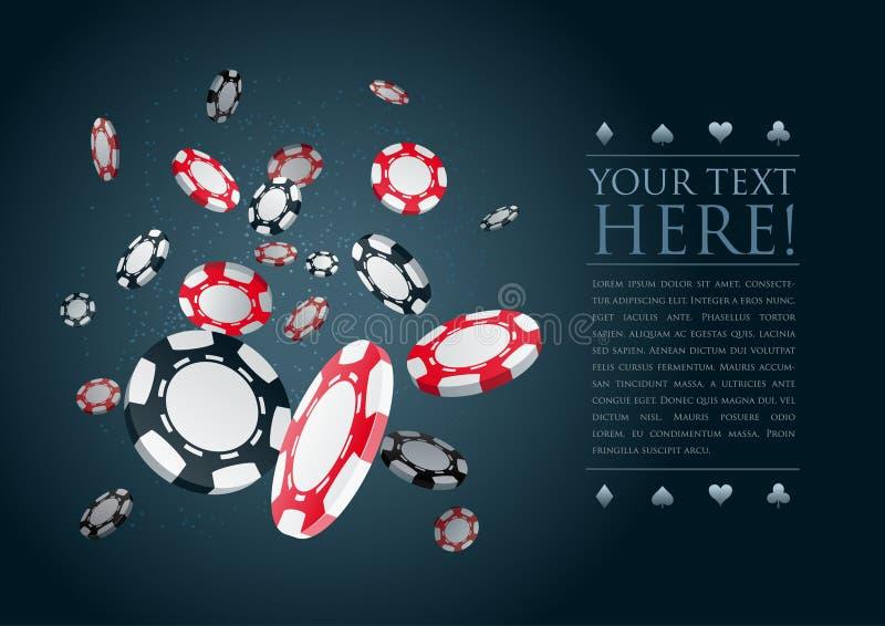Modelo de juego del cartel de las virutas del póker. ilustración del vector