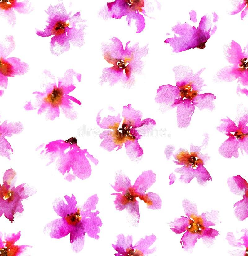 Modelo de la acuarela con las flores rosadas Fondo floral dibujado mano inconsútil imagenes de archivo