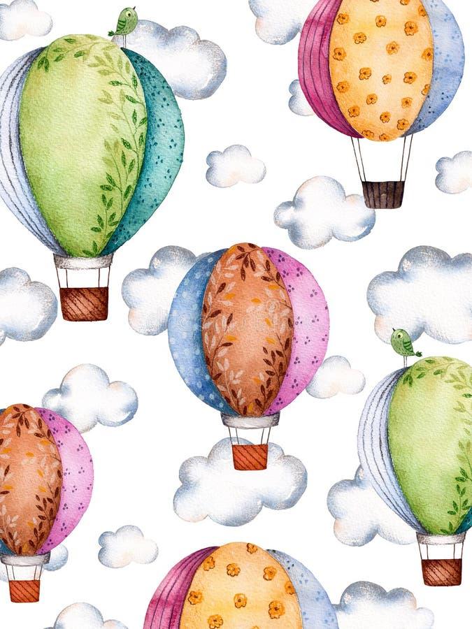 Modelo de la acuarela con los balones y las nubes de aire en colores en colores pastel stock de ilustración