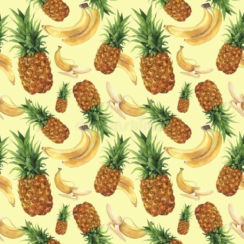 Modelo de la acuarela con la piña y los plátanos Frutas tropicales pintadas a mano con las hojas aisladas en fondo amarillo stock de ilustración