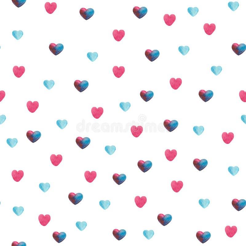 Modelo de la acuarela con violeta, rosa, las hojas azules y los corazones fotos de archivo libres de regalías
