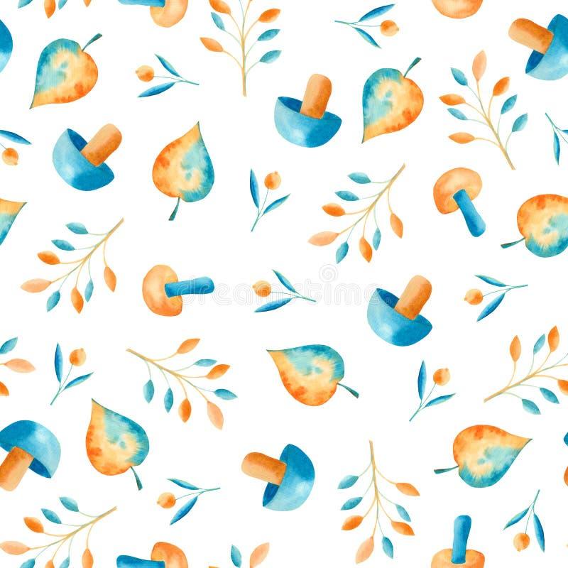 Modelo de la acuarela del otoño con las hojas azules y anaranjadas, setas, bayas libre illustration