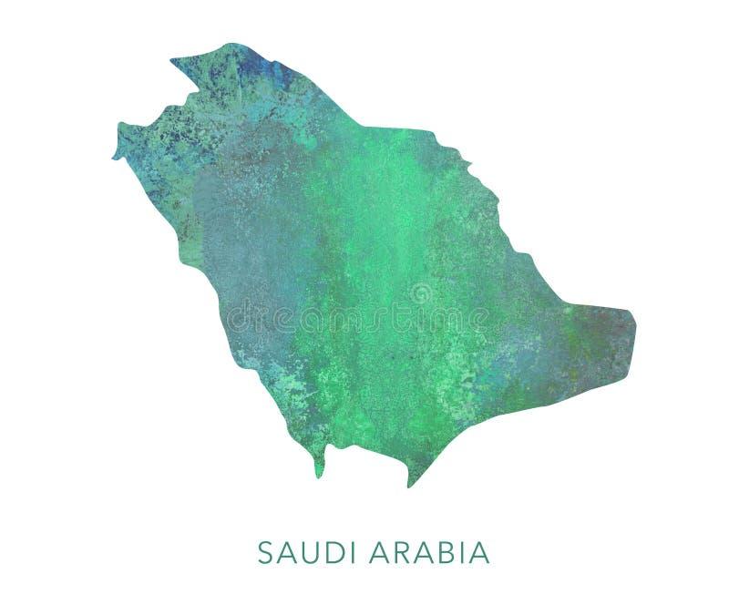 Modelo de la acuarela del verde del mapa de la Arabia Saudita, arriba detallado libre illustration