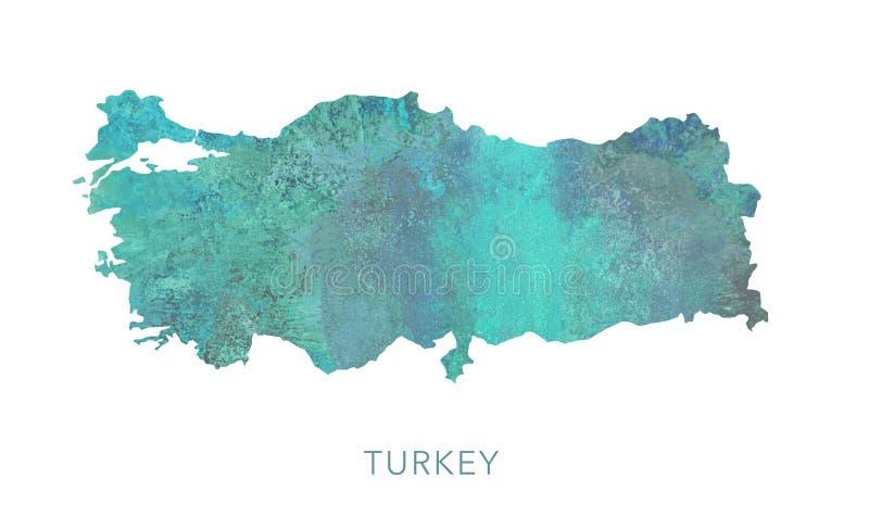 Modelo de la acuarela del verde del mapa de Turquía, arriba detallado ilustración del vector