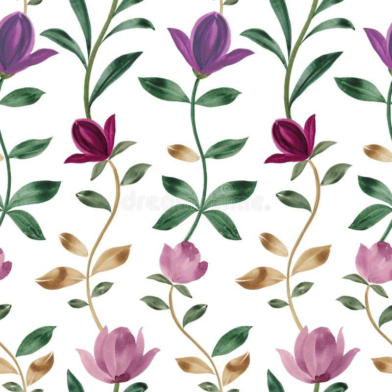 Modelo de la acuarela Flores rosadas hermosas de la magnolia Ornamento decorativo stock de ilustración