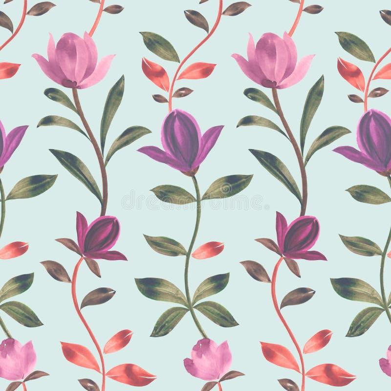 Modelo de la acuarela Flores rosadas hermosas de la magnolia Ornamento decorativo libre illustration