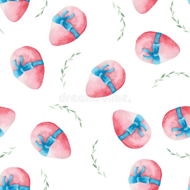 Modelo de la acuarela de los huevos de Pascua y de las ramitas libre illustration