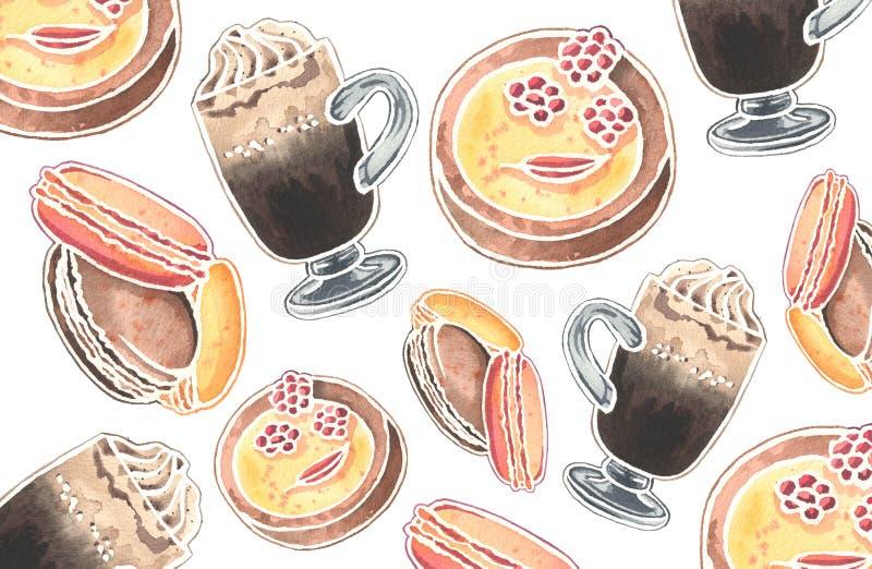 Modelo de la acuarela de los vidrios y de los postres vieneses del café stock de ilustración