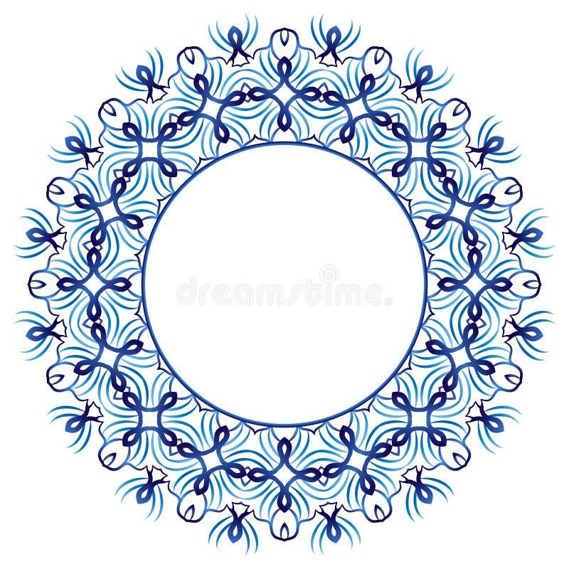 Modelo de la baldosa cerámica Ornamento redondo decorativo Backgroun blanco ilustración del vector