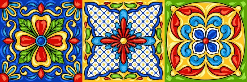 Modelo de la baldosa cerámica de Talavera del mexicano ilustración del vector