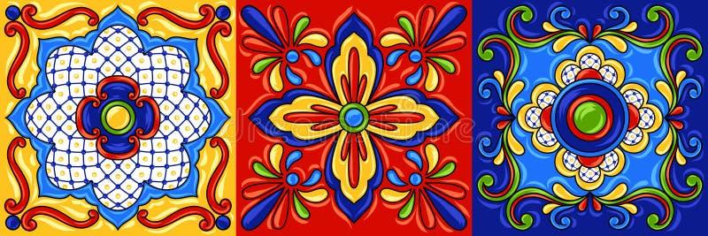 Modelo de la baldosa cerámica de Talavera del mexicano stock de ilustración