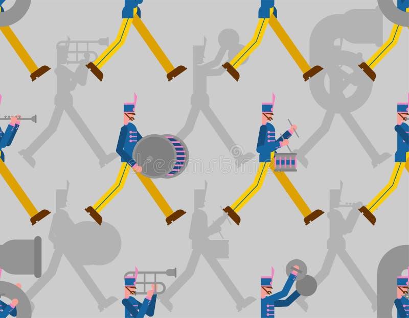 Modelo de la banda militar inconsútil Soldados con los instrumentos musicales hombre alistado y tambor y trombón stock de ilustración