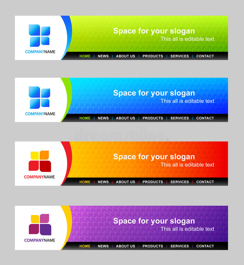 Modelo de la cabecera del Web site stock de ilustración
