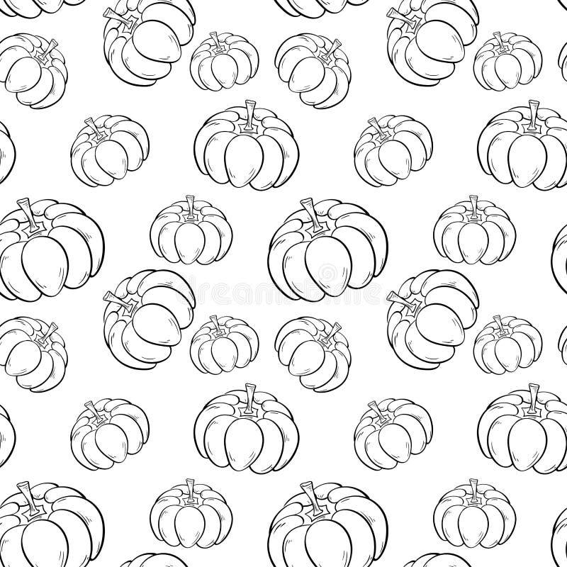 Modelo de la calabaza de Halloween Fondo inconsútil blanco y negro ilustración del vector